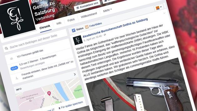 Das FB-Posting mit dem Gratulationseintrag nach dem waffenpsychologischen Test bei Gothia-Salzburg. (Bild: Screenshot Facebook.com/Gothia)