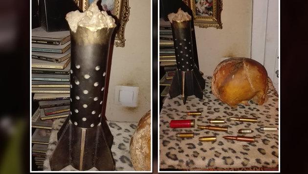 Neben einer Handvoll Munition und einem Raketenleitwerk wurde auch ein Totenschädel entdeckt. (Bild: LPD WIEN)