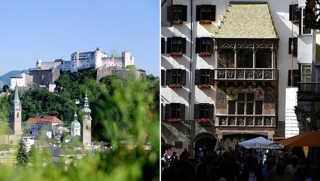 Die Festung Hohensalzburg (li.) und das Goldene Dachl in Innsbruck (re.) (Bild: APA/BARBARA GINDL, APA/HANS KLAUS TECHT)