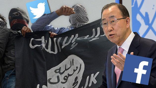 Per Facebook und Twitter zum Terroristen (Bild: AFP, APA/AFP/Fabrice Coffrini, facebook.com, twitter.com)