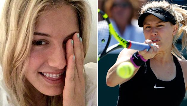 Tennis-Ass Genie Bouchard ist auch mit Zahnspange sexy... (Bild: twitter.com, AP)