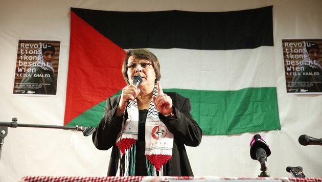 Leila Khaled bei ihrem Auftritt in Wien (Bild: Reinhard Holl)