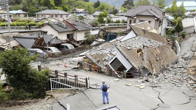 Zerstörte und beschädigte Häuser in der Stadt Mashiki (Bild: Associated Press)