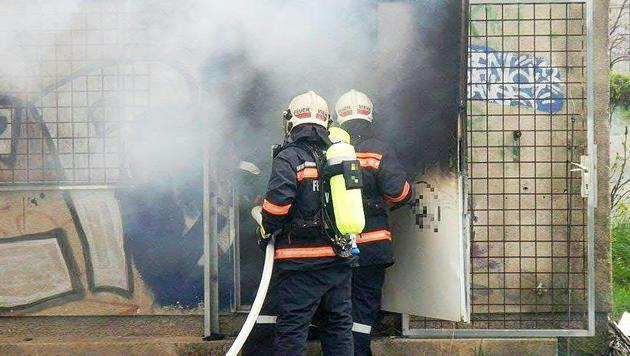 Die Feuerwehrleute beim Löscheinsatz (Bild: APA/MA 68-LICHTBILDSTELLE)