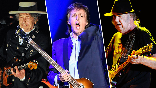 Von links nach rechts: Bob Dylan, Sir Paul McCartney und Neil Young (Bild: AFP/Torsten Blackwood, AFP/Steve Jennings, APA/Hans Klaus Techt)