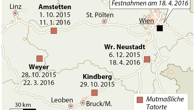 """Die Tatorte der """"Rammbock-Bande"""" (Bild: APA)"""