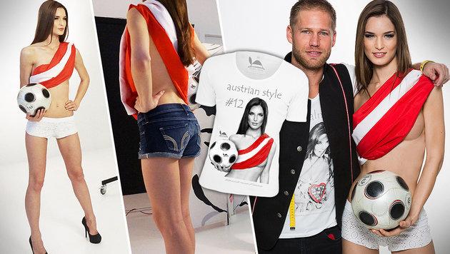 Miss Austria heizt den Teamkickern für EURO ein (Bild: Sarah Katharina)
