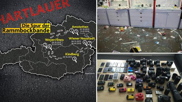 """""""Rammbock-Bande"""" nach siebentem Coup gefasst (Bild: APA/LPD NÖ, Krone Grafik)"""
