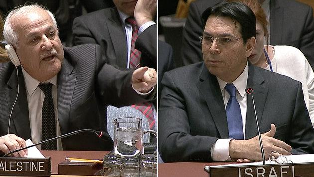 Gar nicht diplomatisch gaben sich Riyad Mansour und Danny Danon im UNO-Sicherheitsrat. (Bild: ASSOCIATED PRESS)