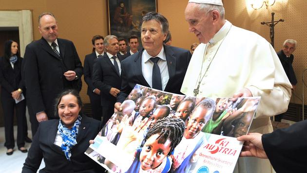 """""""Herzlicher Mensch!"""" Skistars vom Papst begeistert (Bild: APA/…SV/ERICH SPIESS)"""