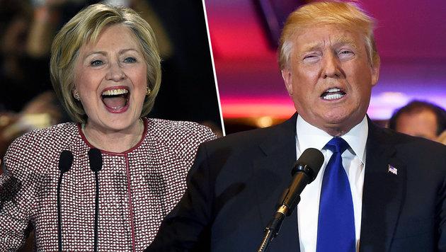 """New York: Klare """"Heimsiege"""" für Clinton und Trump (Bild: APA/AFP/GETTY IMAGES/SPENCER PLATT,APA/AFP/JEWEL SAMAD)"""