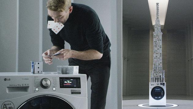 Rekord-Kartenhaus auf Waschmaschine gebaut (Bild: LG, krone.at-Grafik)