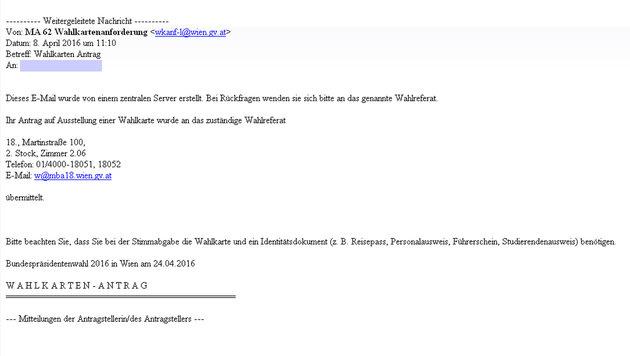 Die Übermittlung des Antrags wurde bestätigt, beim Magistrat ging er aber offenbar verloren. (Bild: Screenshot)