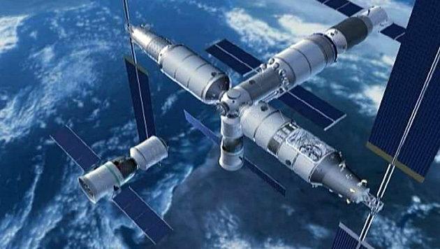 Künstlerische Darstellung: So soll die chinesische Raumstation aussehen. (Bild: China Manned Space Engineering)