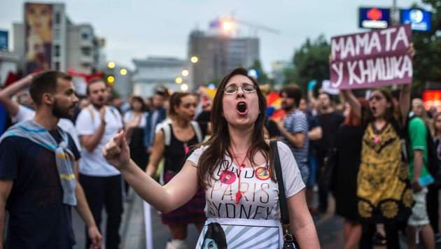 Chaos in Mazedonien: Volk will Regierung st�rzen (Bild: APA/AFP/Robert Atanasovski)