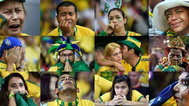 Traurige Gesichter nach dem 1:7 Brasiliens bei der WM 2014 gegen Deutschland (Bild: AFP / picturedesk.com)