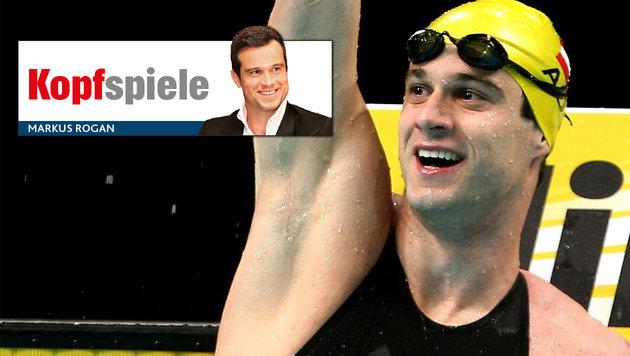 "Ex-Schwimm-Held Rogan ab sofort ""Krone""-Kolumnist! (Bild: Krone Grafik, Markus Rogan, APA/Diener/Georg Diener)"