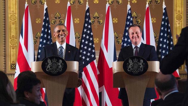 Obama und Cameron für EU-Verbleib der Briten (Bild: APA/AFP/JIM WATSON)