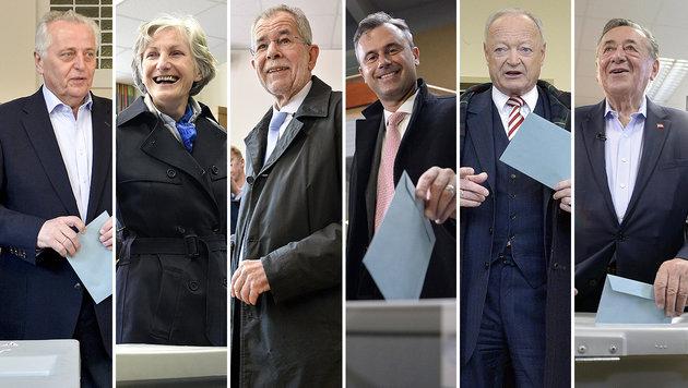 Alle Videos: Die Kandidaten bei der Stimmabgabe (Bild: APA)
