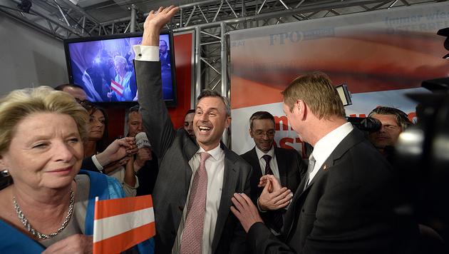 Jubel bei der FPÖ (Bild: APA/Robert Jäger)