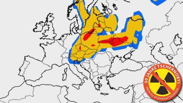 So kam die Todeswolke 1986 über Österreich (Bild: YouTube.com/ZAMG, Kronen Zeitung)