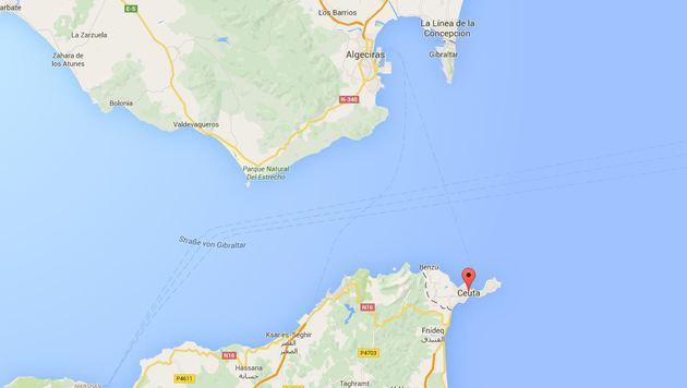 Ceuta liegt an der Meerenge von Gibraltar und gehört zur EU. (Bild: Screenshot Googlemaps)