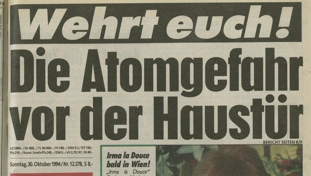 """Der """"Krone""""-Aufmacher im Oktober 1994 (Bild: """"Krone"""")"""