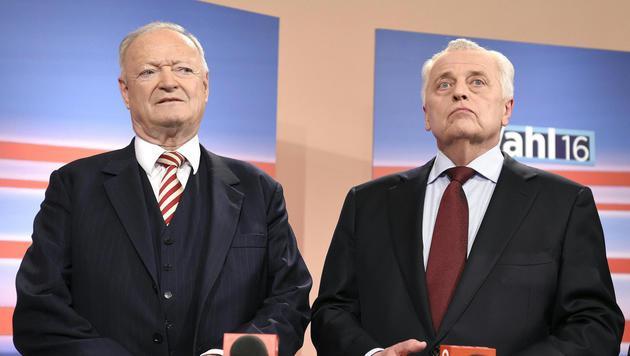 Andreas Khol und Rudolf Hundstorfer waren die großen Verlierer des ersten Wahlgangs. (Bild: APA/HELMUT FOHRINGER)