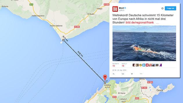 15 Kilometer liegen zwischen dem Startpunkt in Spanien und dem Ziel in Marokko. (Bild: maps.google.com, twitter.com/BILD)