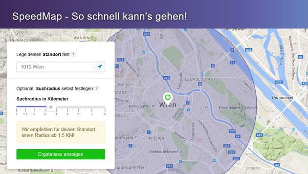 """""""SpeedMap"""": Wer bietet wo das schnellste Netz? (Bild: tarife.at/speedmap)"""