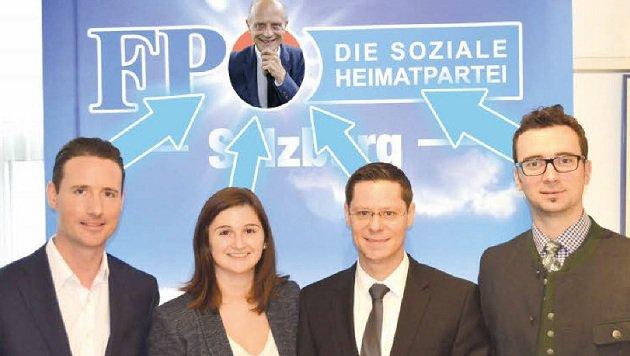 Wer folgt Schöppl auf den blauen Thron: Reifenberger, Svazek, Hochwimmer oder Stöllner (v.li.)? (Bild: Fotomontage: Markus Tschepp, FPÖ)