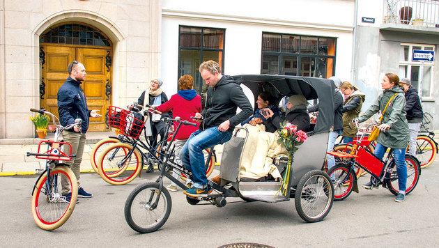 Die Sehenswürdigkeiten der Stadt lassen sich gut mit einer geführten Radtour erkunden. (Bild: Brigitte Egger)