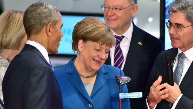 Obama und Merkel in Hannover (Bild: APA/AFP/JOHN MACDOUGALL)