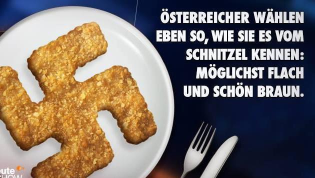 "Das Aufreger-Posting der ""heute-show"" mit Schnitzel in Hakenkreuzform (Bild: Screenshot facebook.com)"