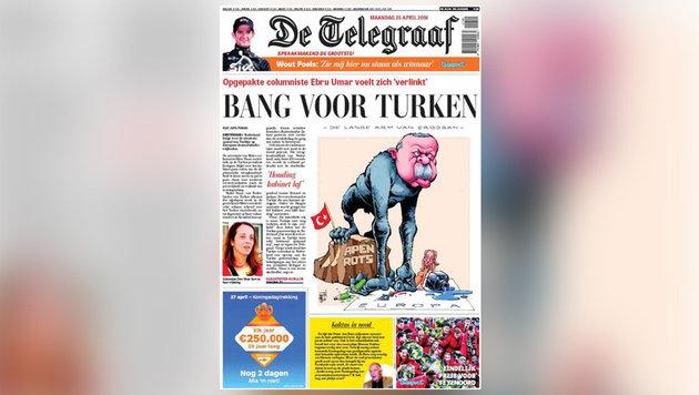 """Die niederländische Zeitung """"De Telegraaf"""" zeigt Erdogan auf der Titelseite als Gorilla. (Bild: De Telegraaf)"""