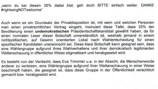 Ein Auszug der Sachverhaltsdarstellung von Toni Mahdalik (Bild: FPÖ-Wien)