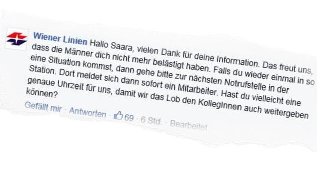 Auch die Wiener Linien reagierten auf das Posting der Maturantin. (Bild: Facebook.com/Wiener Linien)