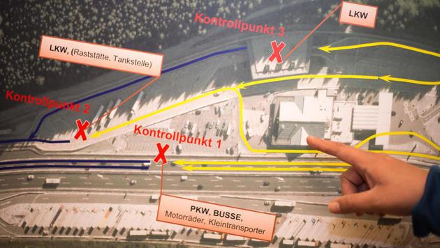 So sollen die Kontrollen am Brenner organisiert werden. (Bild: Christof Birbaumer)