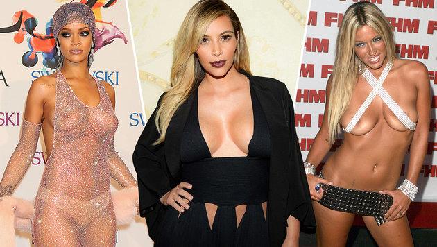 Rihanna, Kim Kardashian und Jodie Marsh halten wenig vom Verhüllen. (Bild: Viennareport)