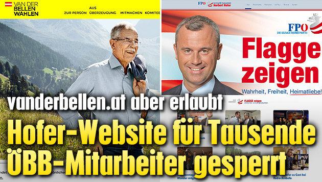 Hofer-Website auf Tausenden ÖBB-PCs gesperrt (Bild: vanderbellen.at, norberthofer.at)