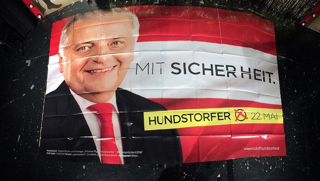 Die SPÖ ließ um 60.000 Euro Stichwahl-Plakate für ihren Kandidaten Rudolf Hundstorfer drucken. (Bild: twitter.com)