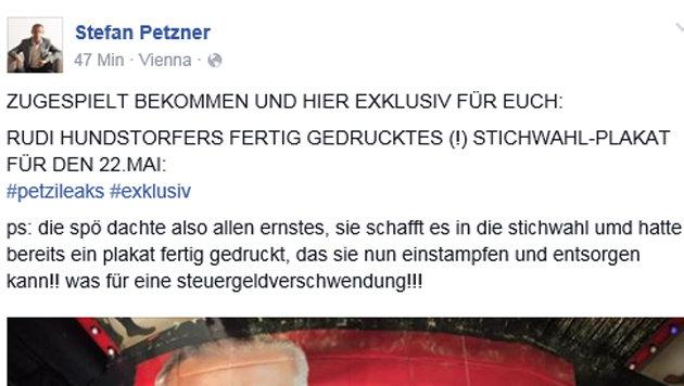 Petzners Beitrag auf Facebook (Bild: Screenshot/Facebook.com)