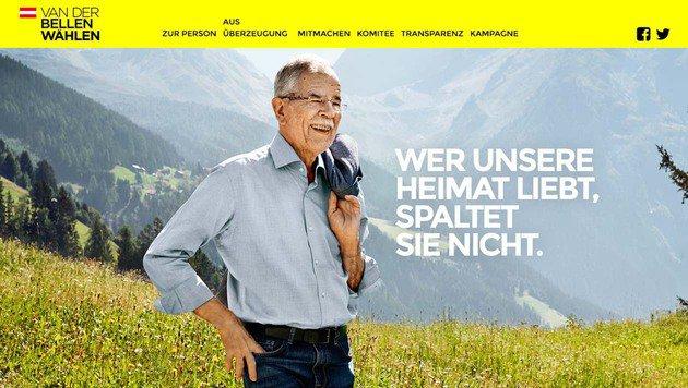Die Website von Alexander Van der Bellen (Bild: vanderbellen.at)