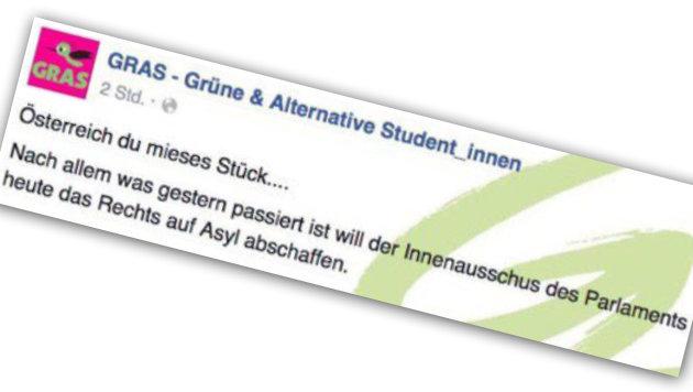 Das umstrittene Posting von GRAS (Bild: Screenshot Facebook.com)
