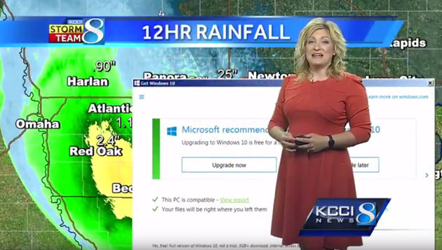 Microsoft droht Mega-Klage wegen Windows 10 (Bild: Screenshot kcci.com)