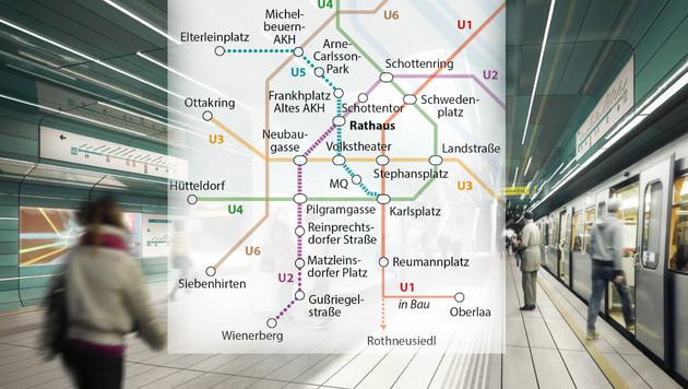 So sieht der Netzplan für U5 und U2 im Detail aus. (Bild: Göbl Architekten ZT, APA)