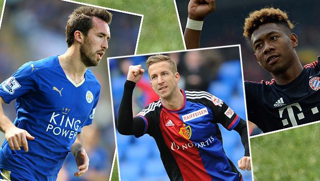 Fuchs, Alaba und Co.: Meister-Tage für EURO-Stars (Bild: GEPA, AP)