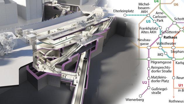Die Trassen der Linien 5 und 2 stehen fest. Links: die neue Station Pilgramgasse (Bild: APA/STADT WIEN, APA)