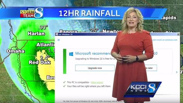 Windows 10 st�rt Live-Wetterbericht im Fernsehen (Bild: Screenshot kcci.com)