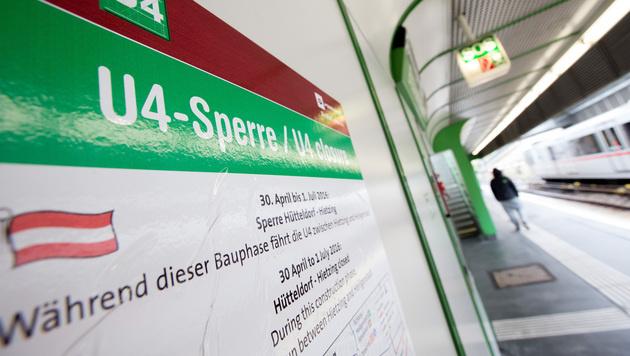 Schon am 1. Tag der U4-Sperre Stauchaos in Wien (Bild: APA/GEORG HOCHMUTH)